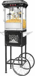 Great Northern Black 8 ounce Popcorn Popper Machine With Cart