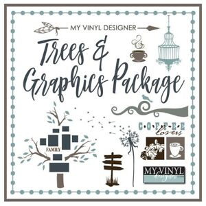 Trees And Graphics Package Vector Art Ai Eps Svg Files Usb Vinyl Silhouette