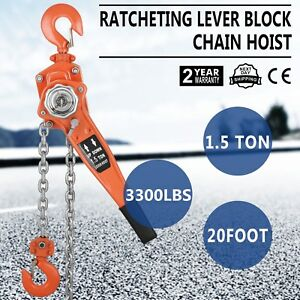 Chain Lever Block Hoist Come Along Ratchet Lift 1 5 Ton 3000lb Capacity Hot