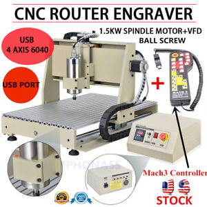4axis Usb 1500w Vfd Cnc 6040 Router Engraving Machine Engraver mach3 Controller