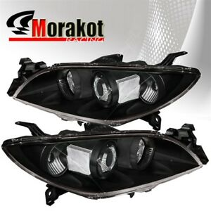 For 03 09 Mazda 3 Halo Projector Black Housing Headlights Clear Reflector Lamps