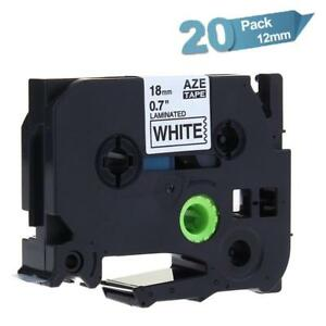 20pk Tze241 P touch Label Tape Compatible For Brother 18mm Black On White Ribbon