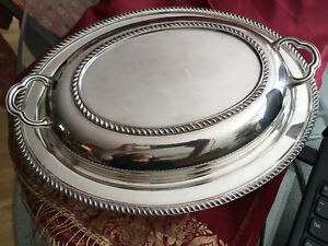 Poole Silverplate Double Serving Dish With Oven Proof Liner