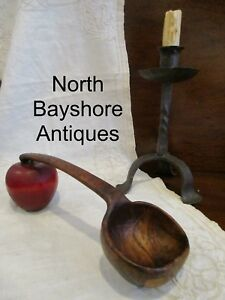 Antique 1700s New England Colonial Hand Carved Burl Cherry Ladle Scoop Aafa