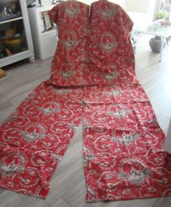2 Other French Antique Curtains Red White Toile De Jouy 19th Century