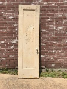 Vintage Solid Wood Closet Pantry Door W Milk Glass Handle Chippy Paint Salvage