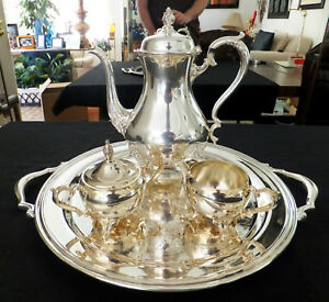 4pc Wilcox Wm Rogers Silver Plated Coffee Tea Set 821