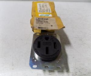 Hubbell Black Thermoplastic Straight Blade 50amp Receptacle 9450a Nib