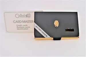 Vintage Calibri 10 K Gold W Sapphire Black Business Card Holder W Knight Logo