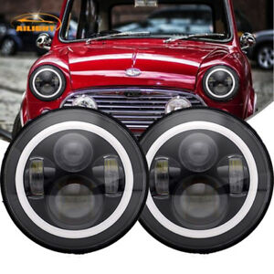 Dot 7 Round Chrome Led Headlights Hi lo Beam For Classic Mini Austin Rover