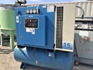 Quincy 15 Hp Rotary Air Compressor Model Qmt15aca12sg With Tank Only 13k Hours