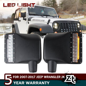 For 2007 2017 Jeep Wrangler Jk Led Rearview Mirror W amber Turn Signal Lights