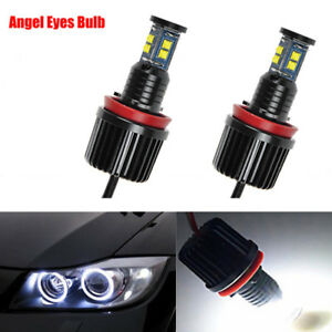 80w Total H8 Led Angel Eyes Halo Ring Bulbs Canbus 6000k White Fit Bmw X3 X5 X6