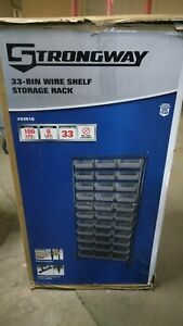 12 tier Single Side Wire Shelving Unit With 33 Bins