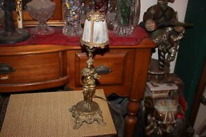 Antique Spelter Spanish Figural Table Lamp Decorative Art Table Lamp W Shade
