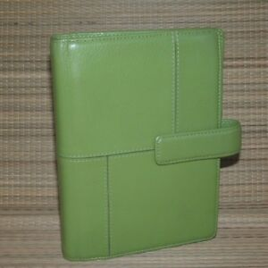 Franklin Covey Green Leather Compact Planner Binder Flex 75 Rings