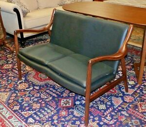 Mid Century Finn Juhl Copenhagen Walnut Leather 2 Seater Sofa Replica Midcentury