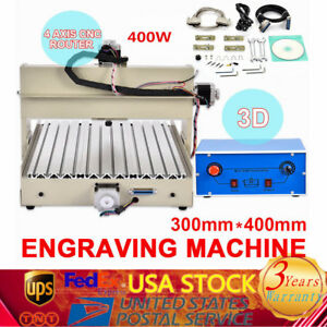 4axis 3040 Cnc Router Engraver Engraving Woodwork Milling 400w Carving Machine