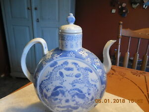 Large Flat Front Moon Flask Type Chinese Blue White Teapot Signed