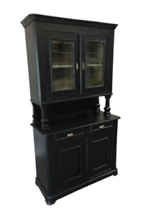 English Shaker Style Step Back Hutch China Cabinet