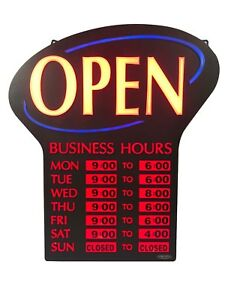 Newon Open Sign W business Hours