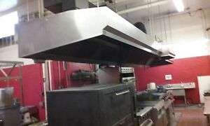 Used Commercial Stainless Steel Exhaust Hood Unit With Exhaust Fans 4000