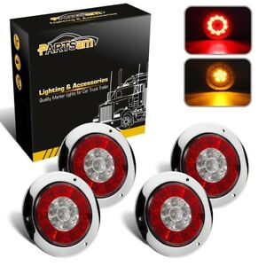 4x4 Round Red amber 16 Led Stop Tail Turn Signal Reflex Lights W stainless Ring