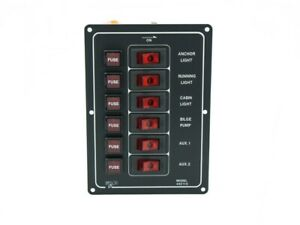Marine Vertical 6 Gang Switch Panel W Fuse Five Oceans Fo 67 1