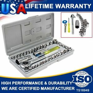 40pcs Socket Tool 1 4 3 8 Drive Ratchet Wrench Set W Case For Sae Metric