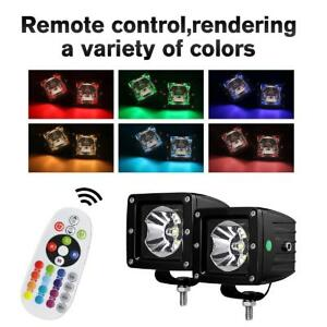 2x 3inch Rgb Cree Led Light Pods Cube Multi Colors Remote Control Strobe Offroad
