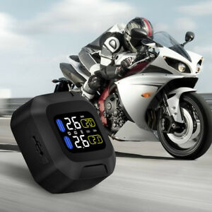 Motorcycle Tire Pressure Monitoring System Tpms Wireless Lcd 2 External Sensors