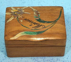 Antique Swiss Black Forest Wood Carving Box Edelweiss Flower Muerren Souvenir