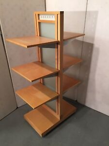 Wood Laminate 4 Tier Rolling Display Shelf Table Retail Store Fixture