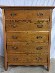 Stunning Antique Solid Oak Tallboy Highboy Dresser Chest Knapp Joints