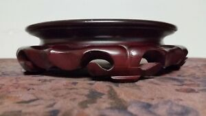 Vintage Chinese Carved Hardwood Stand For Bowl Vase 6 1 2