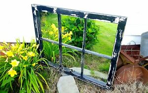 6 Pane Old Window Sash Frame Black W Mirrors 27x36 Chippy Distressed Wow