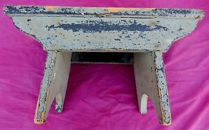 Antique Sage Green True Maine Primitive Foot Stool Nicely Done