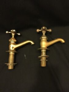 Architectural Salvage Vintage Brass Faucet Set Hot Cold Beautiful Handles