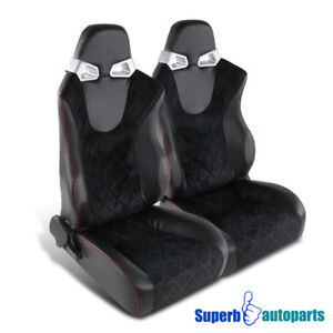 Black Suede Leather Speed Racing Seats W Red Checked Style Stitching