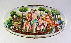 Oval Capodimonte Antique Italian Porcelain Large Trinket Box Nudes Gold