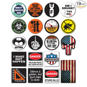19 pack Hard Hat Tool Box Stickers 100 Vinyl Proudly Made In Usa Funny