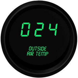 Digital Outside Air Temperature Gauge W Sender Green Led Black Bezel Warranty