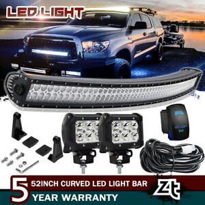For 2007 2018 Toyota Tundra sequoia Roof 50 Curved Led Light Bar 4 Pods Cube