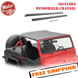 Smittybilt 90815 Bikini Top W Windshield Header 1987 1991 Jeep Wrangler Yj