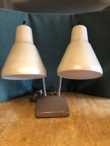 Vintage Mid Century Modern Double Goose Neck Table Desk Lamp Wall Sconce