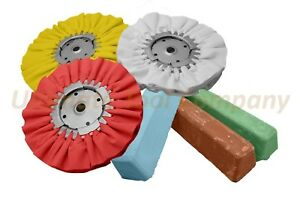 6pc Buffing Wheel Polishing Kit Brown Compound Green Auto Detail Airway Luster