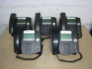 5 Polycom Soundpoint Ip 450 Ip450 Voip Desktop Office Business Phone Lot Used