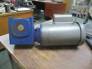 Baldor Single Phase Motor W Gear Vl3510 1hp 1800rpm Fr 56c 115 208 230v Used