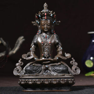 9 Asian Antique Tibetan Buddhism Handmade Copper Amitayus Buddha Statue