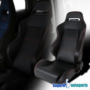 Black Pvc Leather Red Stitching Buckle Racing Seat Reclinable Driver Left Side